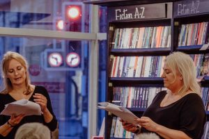 Angela and claire dyson reading The Love Detective Waterstones launch